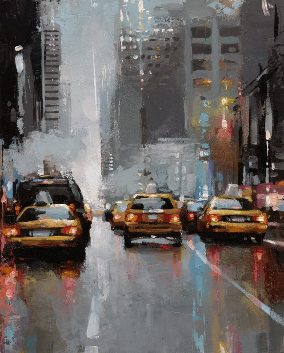 """""""NYC Taxi-II"""" original fine art by Victor Bauer"""