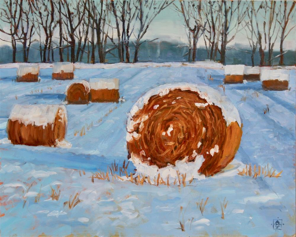 """Snowy Hayfield"" original fine art by Carol Granger"