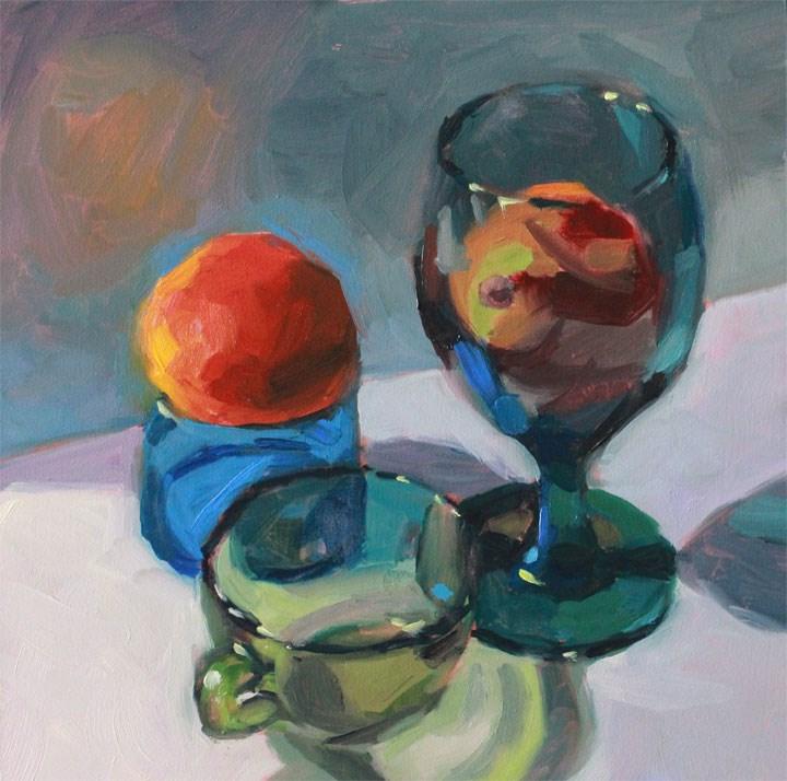 """Blue Green Blood Orange"" original fine art by Nealy May Riley"