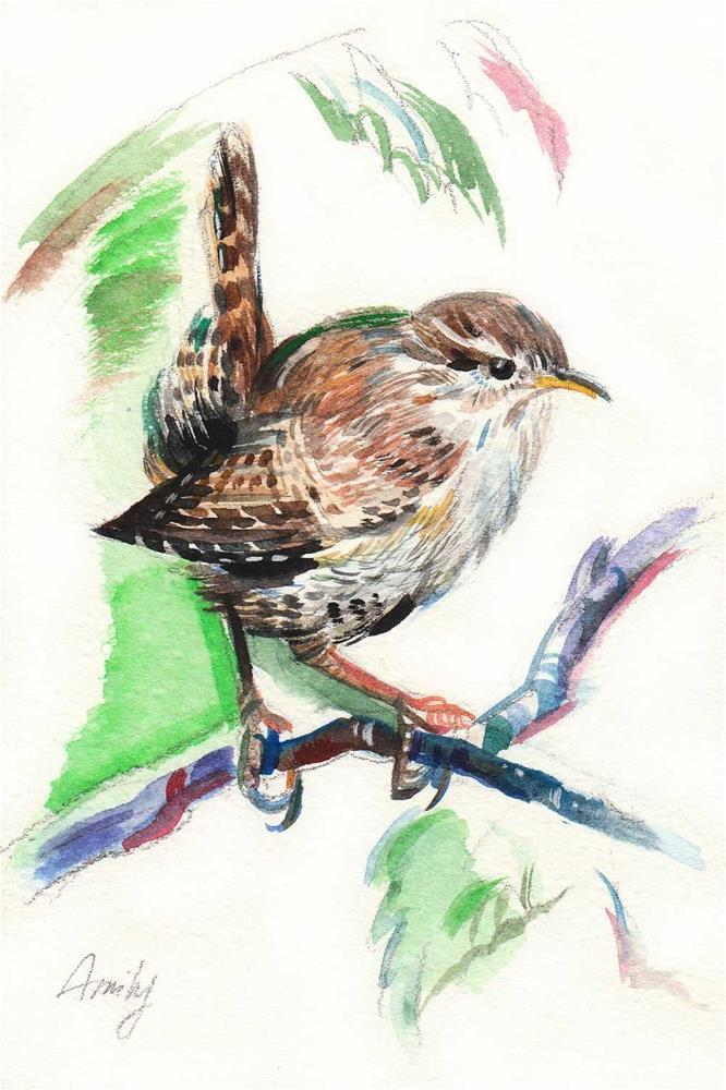 """""""Eurasian Wren Bird"""" original fine art by Anna Fine Art"""