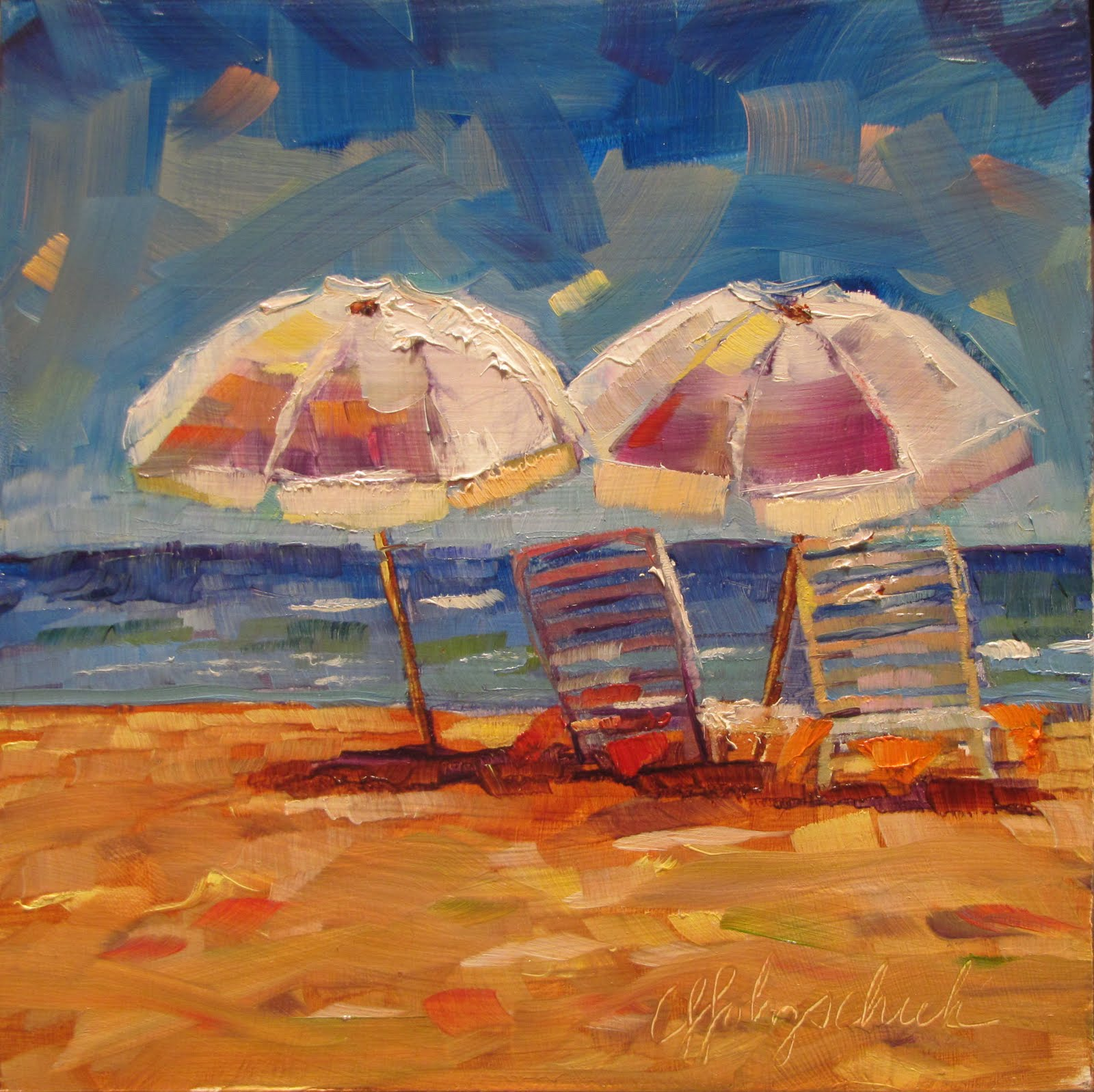 """""""Ready and Waiting  oil  6x6  landscape #353"""" original fine art by Christine Holzschuh"""