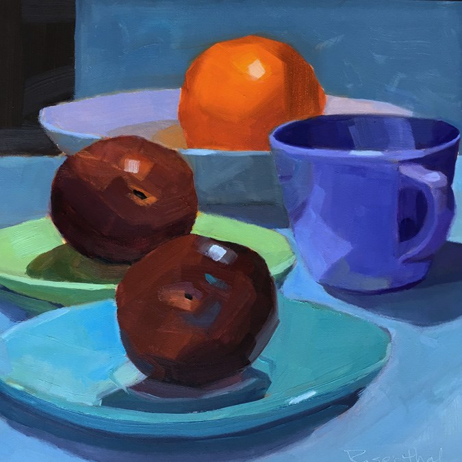 """Fruit and Dishes"" original fine art by Robin Rosenthal"