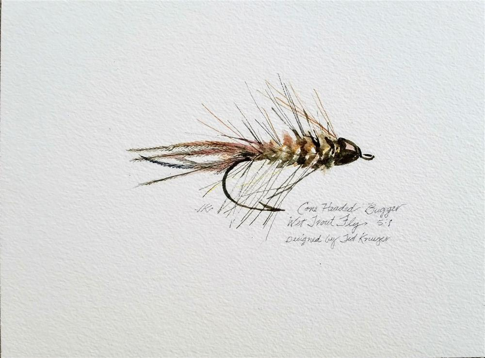 """Cone Headed Bugger - Wet Trout Fly"" original fine art by Jean Krueger"