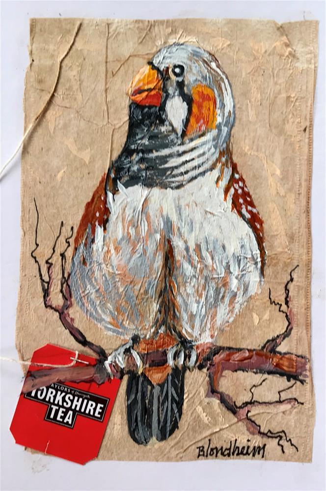 """Tea Bag Painting Zebra Finch"" original fine art by Linda Blondheim"