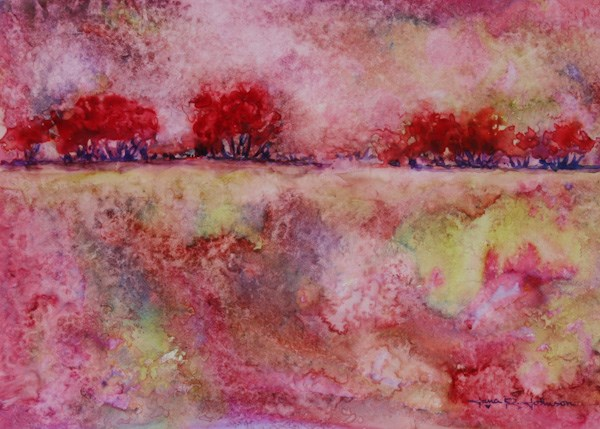 """""""Red Trees In The Park"""" original fine art by Jana Johnson"""