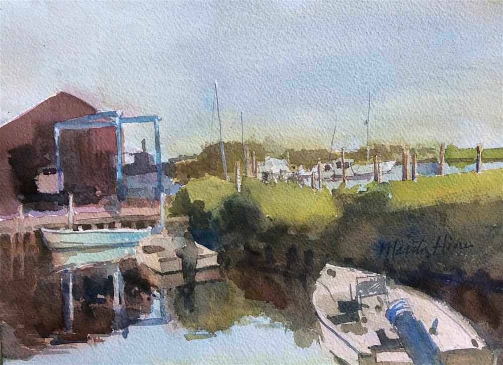 """Morning at the Boatyard"" original fine art by Marita Hines"