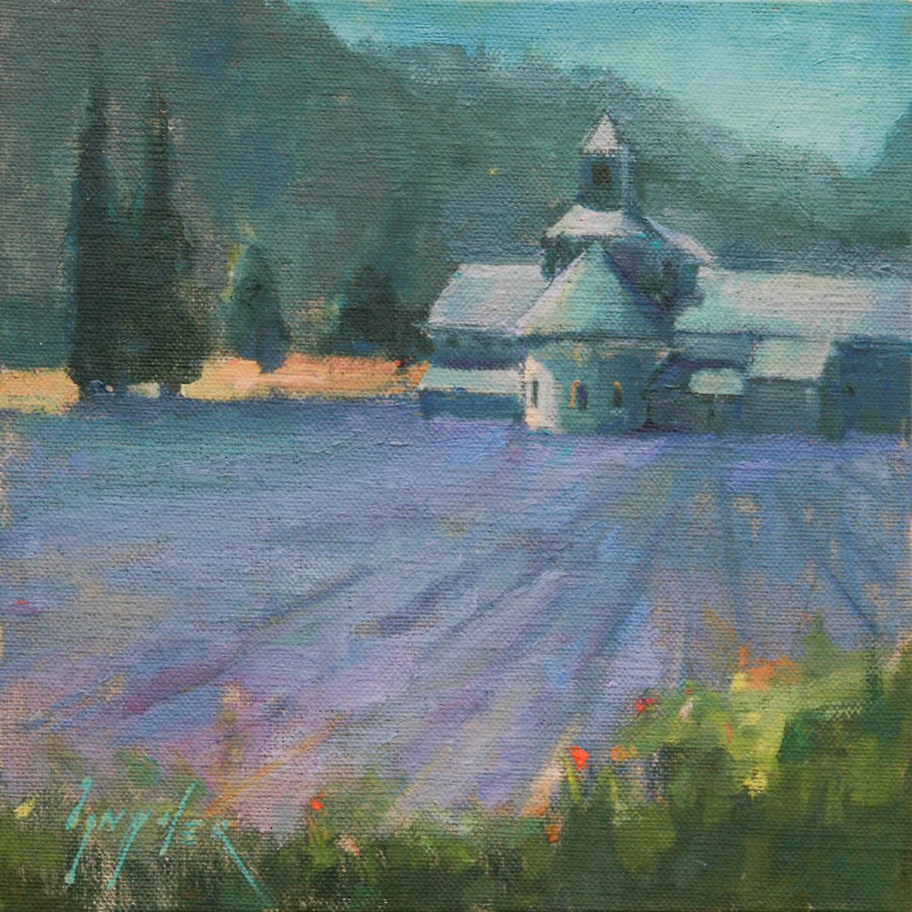 """""""Thirty Paintings in 30 Days #9 Study of Abbey Senanque"""" original fine art by Julie Snyder"""
