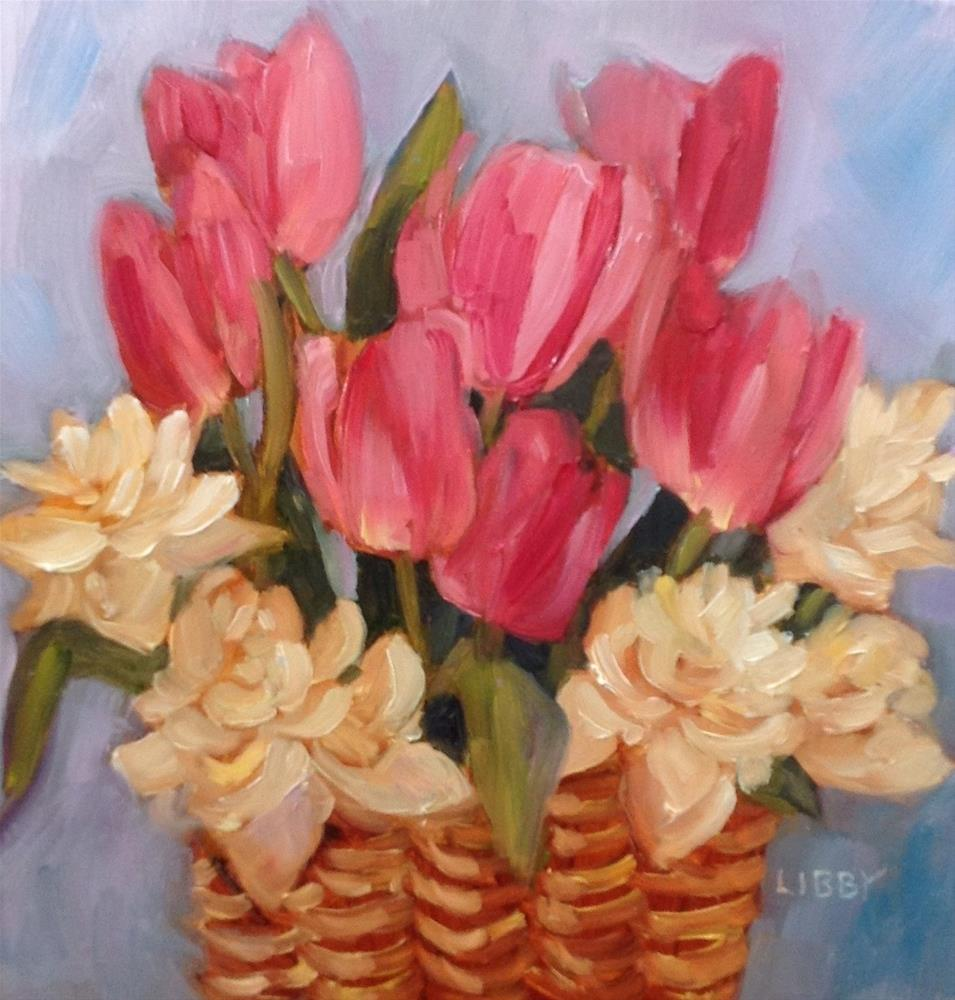 """""""Pink Tulips and Double Daffodils"""" original fine art by Libby Anderson"""