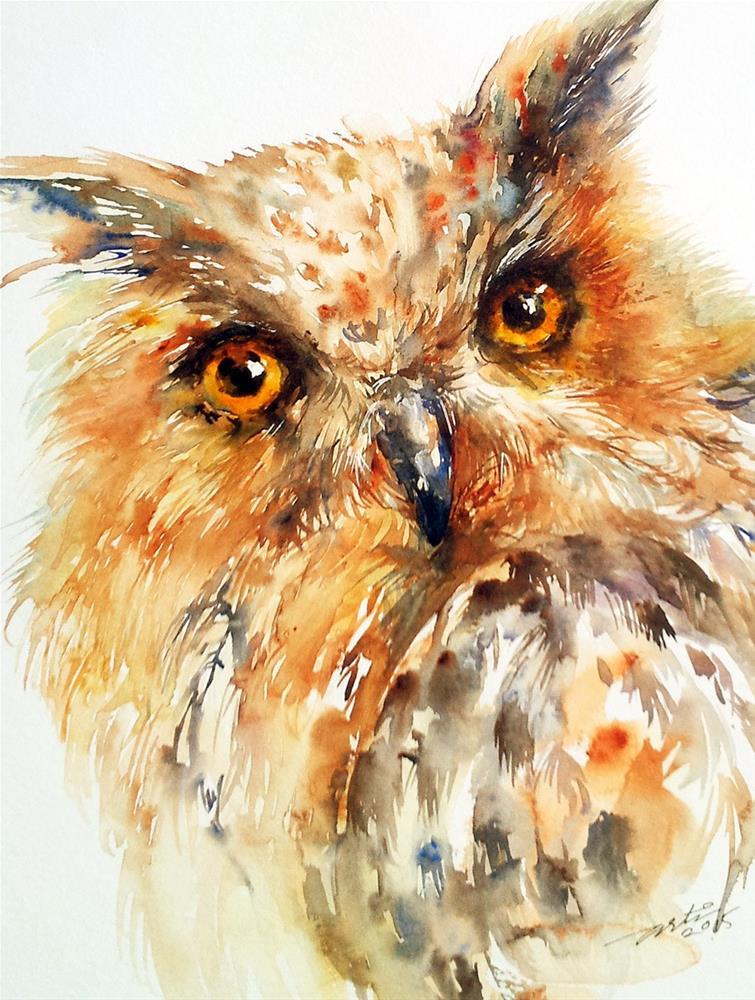 """Bronzai the Owl"" original fine art by Arti Chauhan"