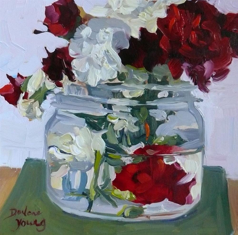 """877 Carnations in a Jar, oil on board, 6x6"" original fine art by Darlene Young"
