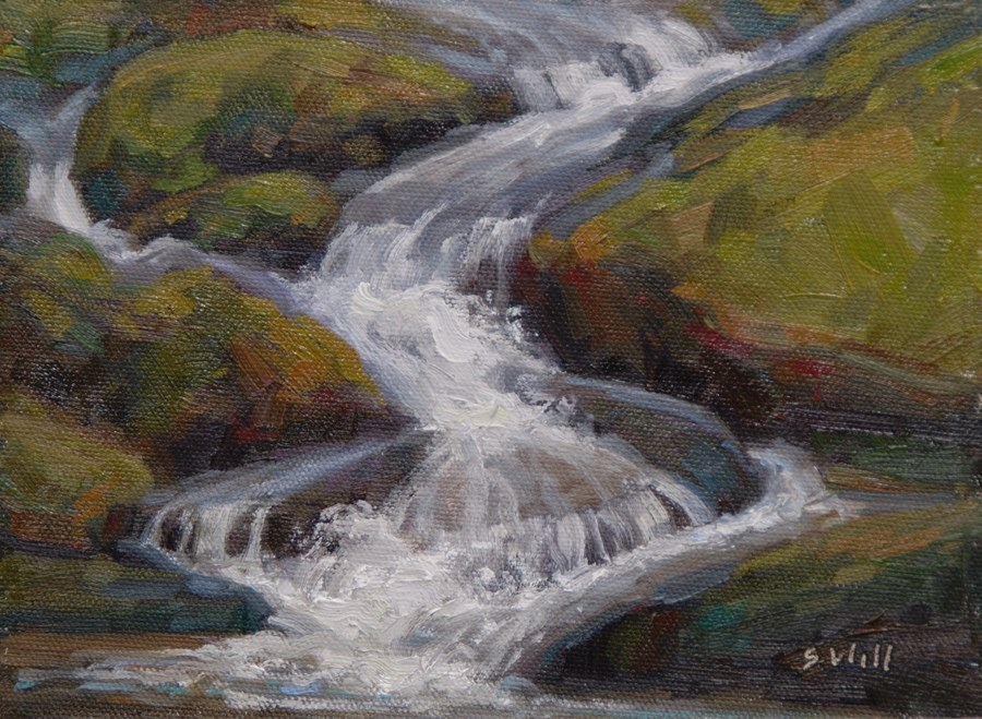 """""""End of the Falls 6x8"""" original fine art by Sharon Will"""