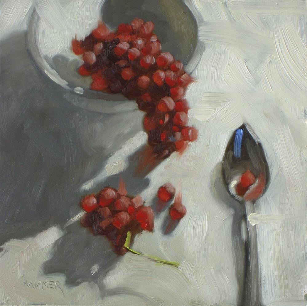 """Itty Bitty grapes 6x6 oil"" original fine art by Claudia Hammer"