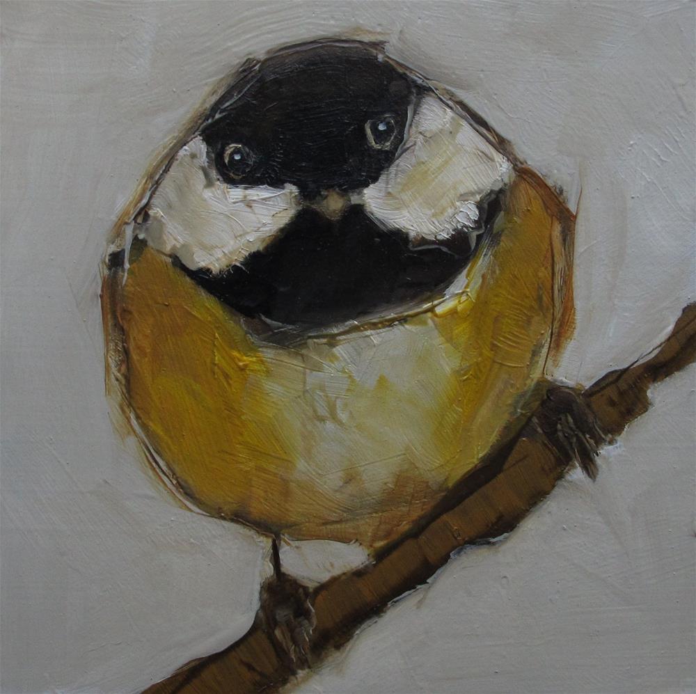 """CHICKADEE BIRD Original FOLK WHIMSICAL Art Colette Davis Art Painting OIL"" original fine art by Colette Davis"
