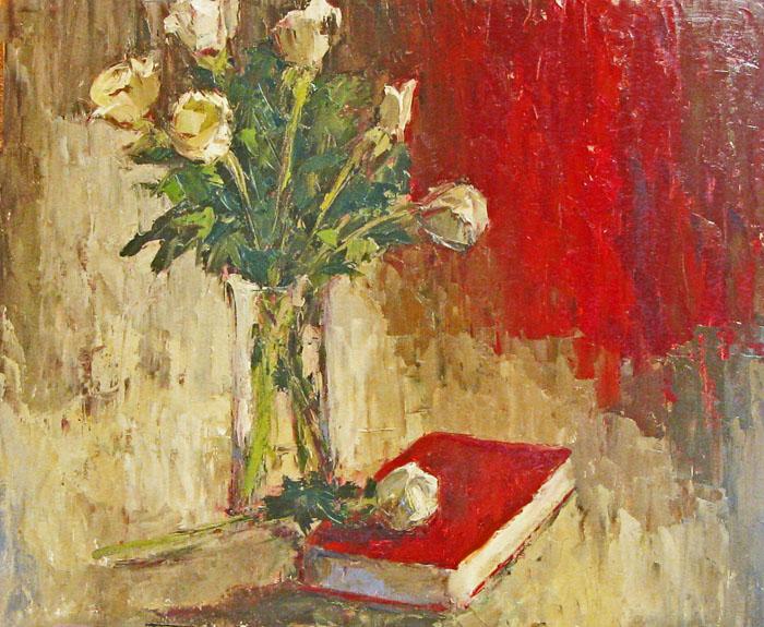 """White Roses"" original fine art by Donna Thomas"