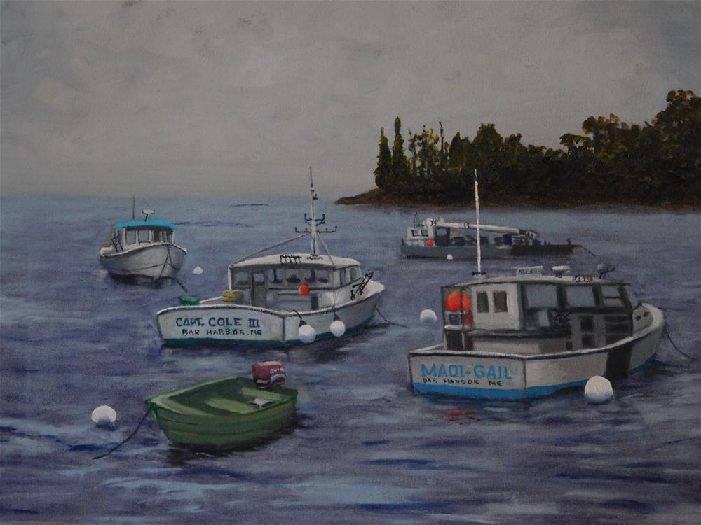 """Lobster Boats In Mooring."" original fine art by R. L. Einhaus"