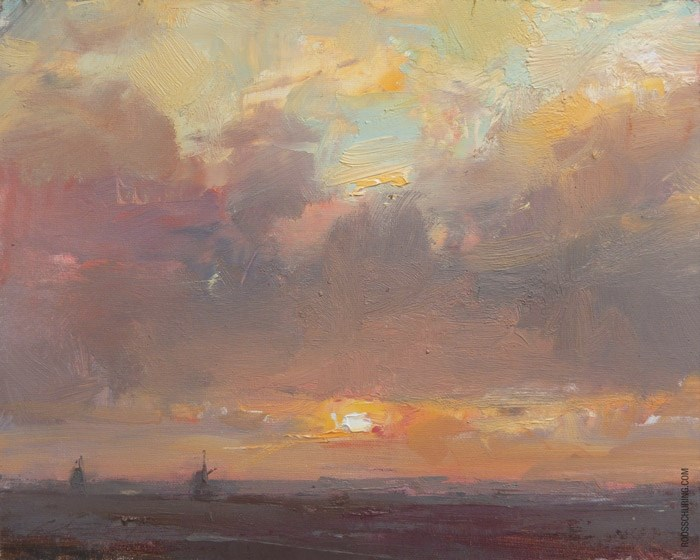 """""""Painting Sunrise and Clouds"""" original fine art by Roos Schuring"""