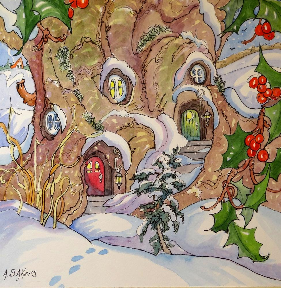 """Winter Neighbors Storybook Cottage Series"" original fine art by Alida Akers"