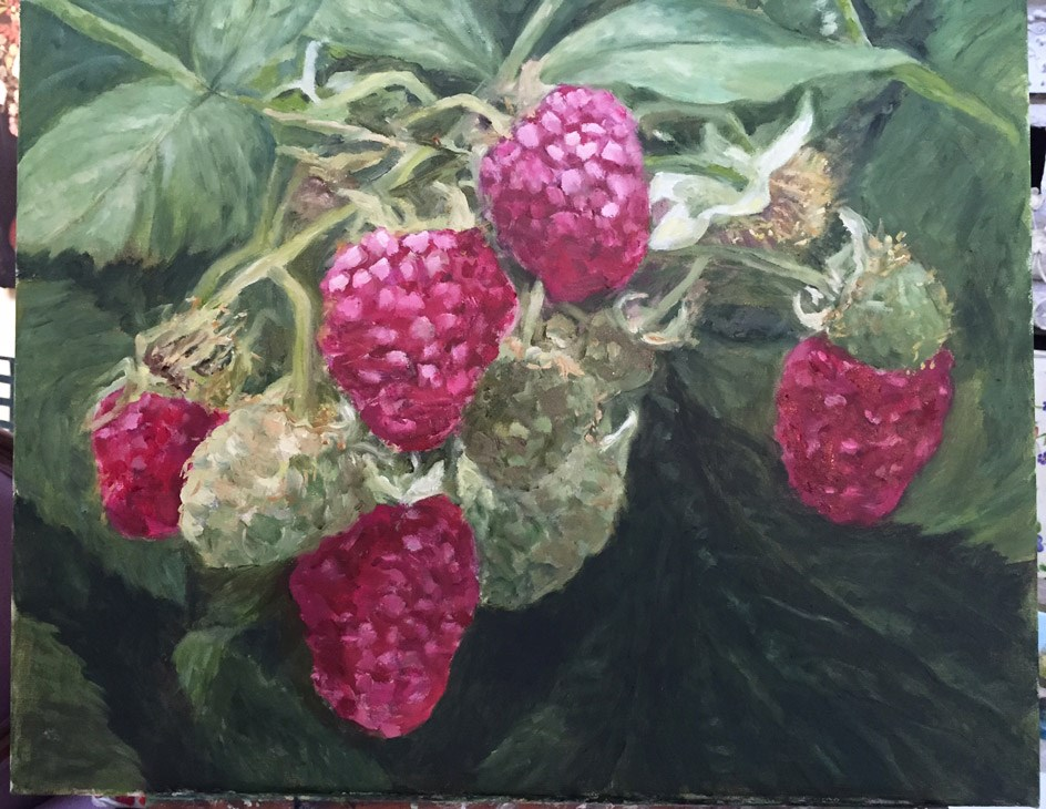 """Picking Rasberries"" original fine art by Lucy Hammett"
