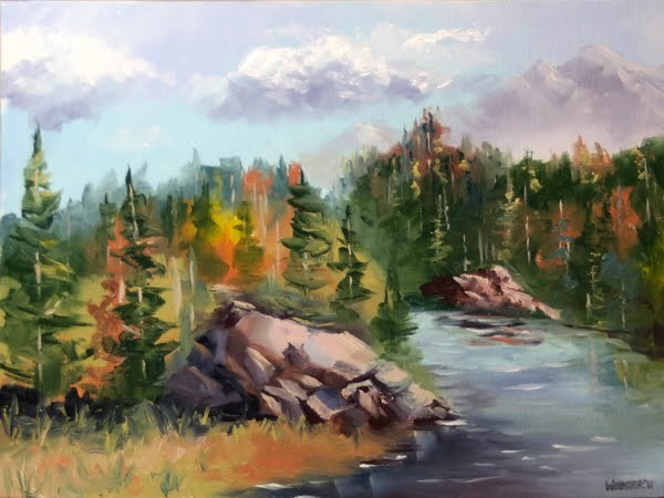 """Forest River Landscape Oil Painting by Artist Mark Webster"" original fine art by Mark Webster"