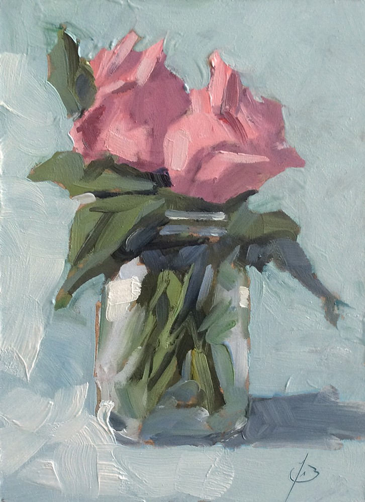 """""""TWO PINK ROSES"""" original fine art by Tom Brown"""