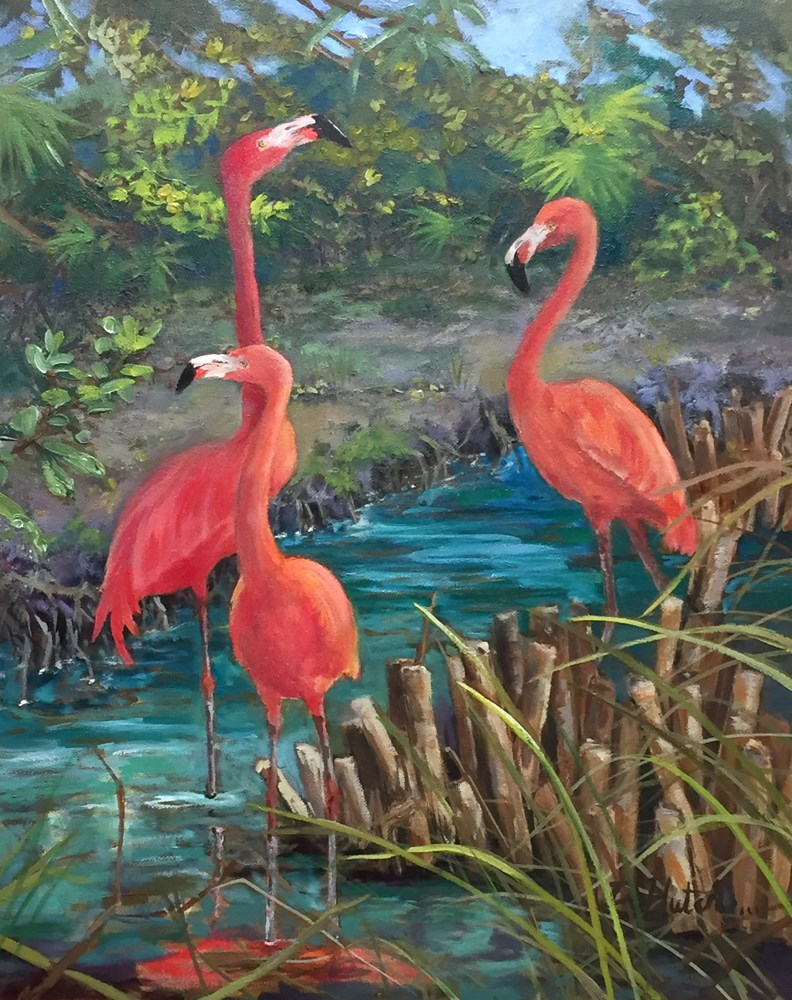 """Flamingos Three"" original fine art by Diane Hutchinson"