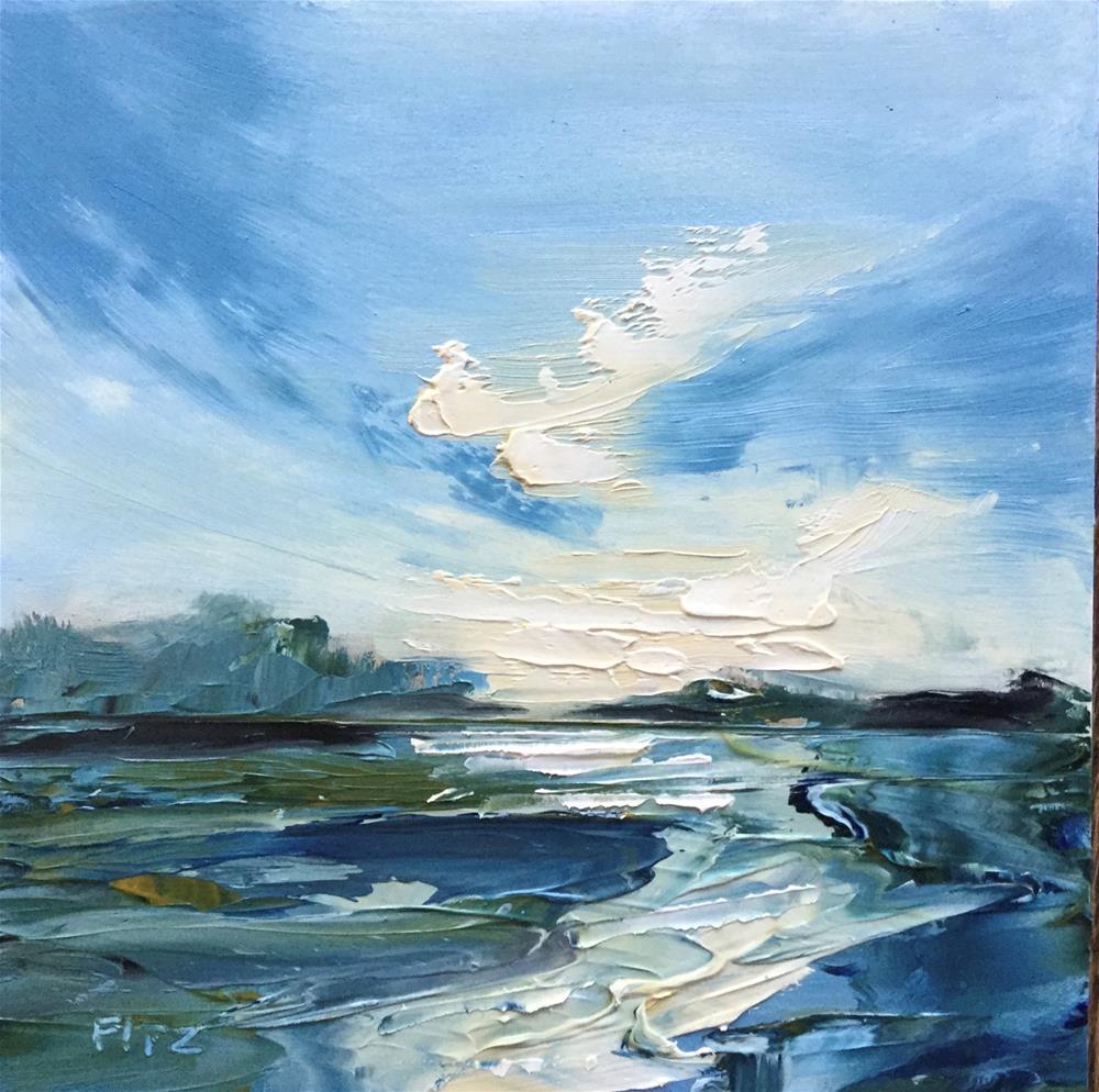 """""""Impasto Seascape 15"""" original fine art by Charlotte Fitzgerald"""