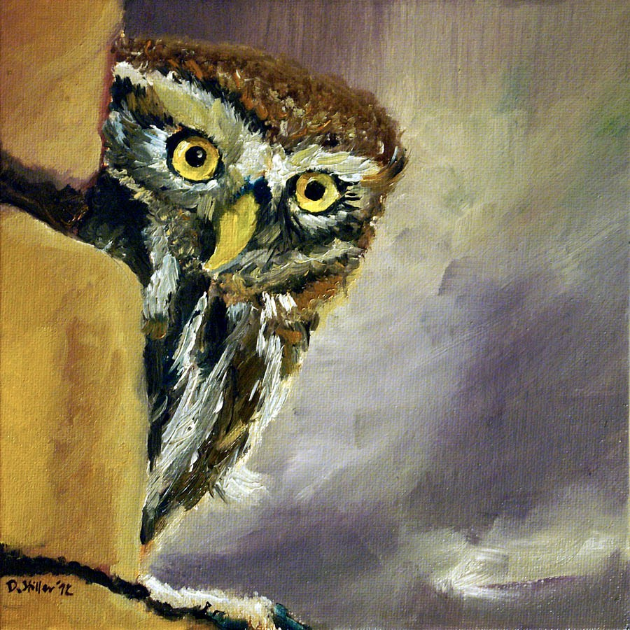 """0505 Happy New Owl -Frohe NEule"" original fine art by Dietmar Stiller"