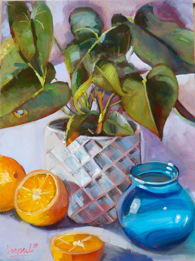 """Oranges and Plant"" original fine art by Dipali Rabadiya"