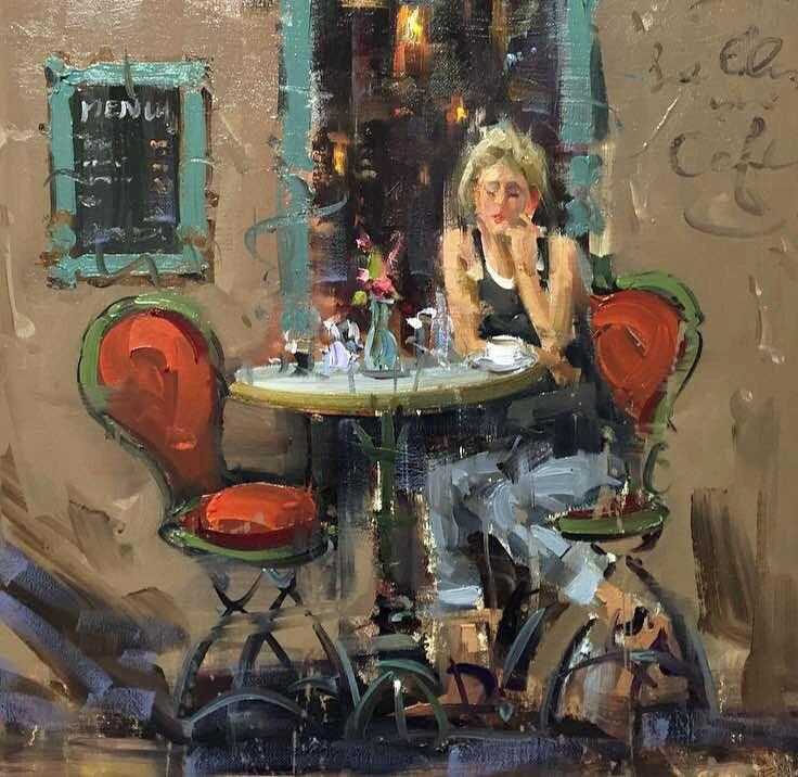 """Paris cafe"" original fine art by Mostafa Keyhani"