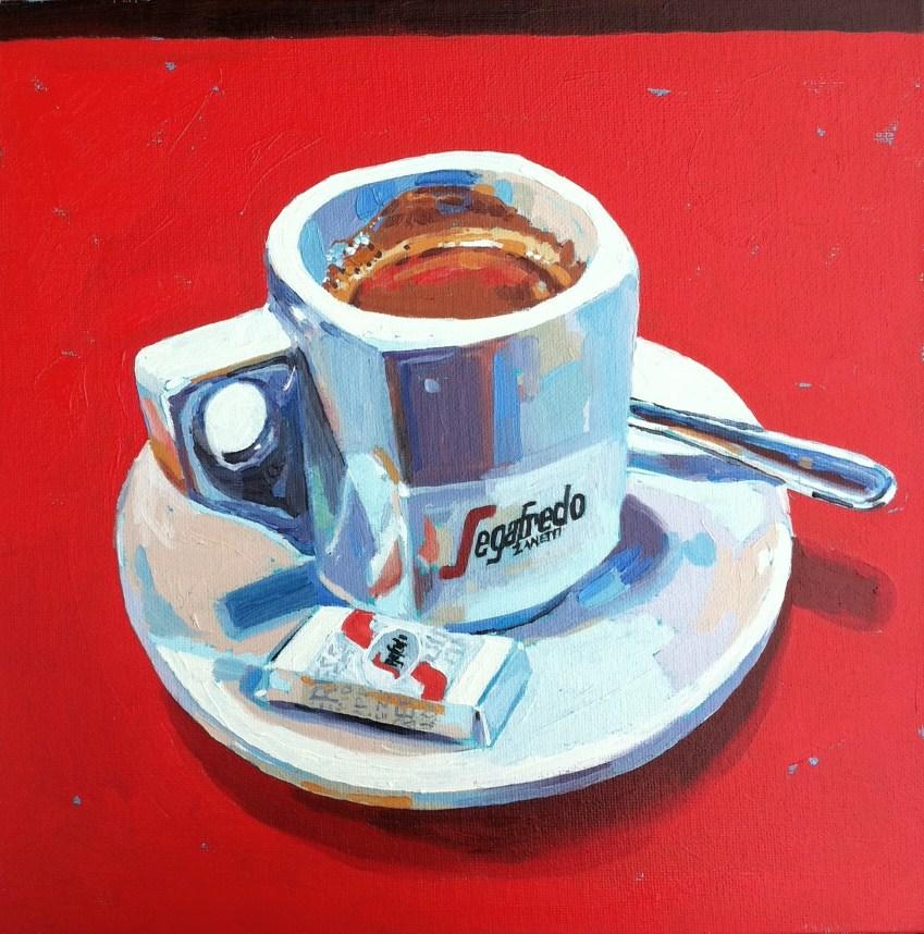 """Un cafe Segafredo"" original fine art by Haidee-Jo Summers ROI"