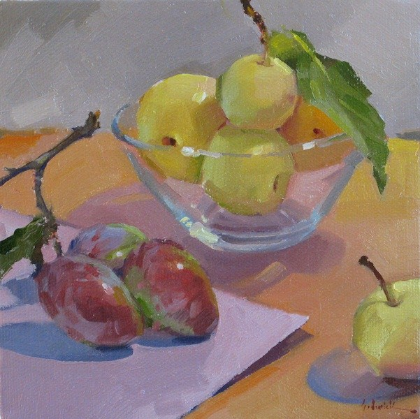 """""""Plums and Asian Pears fruit food art still life oil daily painting and color palette"""" original fine art by Sarah Sedwick"""