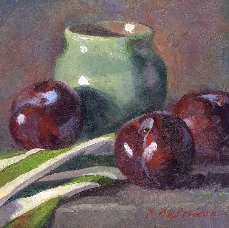 """Plums and Stripes"" original fine art by Connie McLennan"