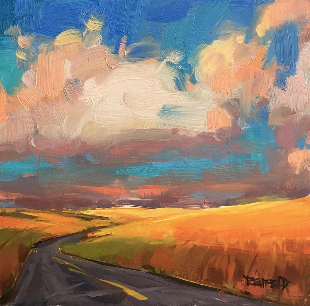 """Oregon Wheatfield Zig Zag Road"" original fine art by Cathleen Rehfeld"