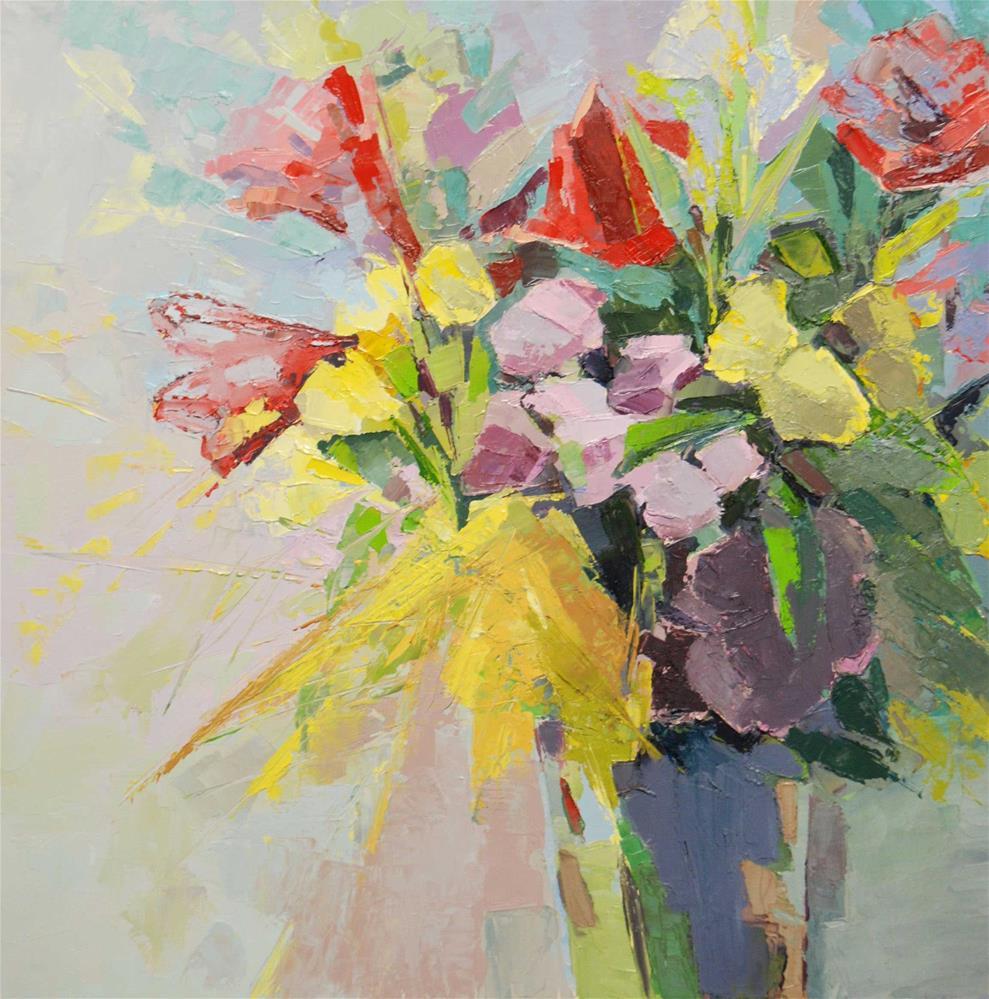 """""""Amarylis bouquet"""" original fine art by Olga Touboltseva-Lefort"""