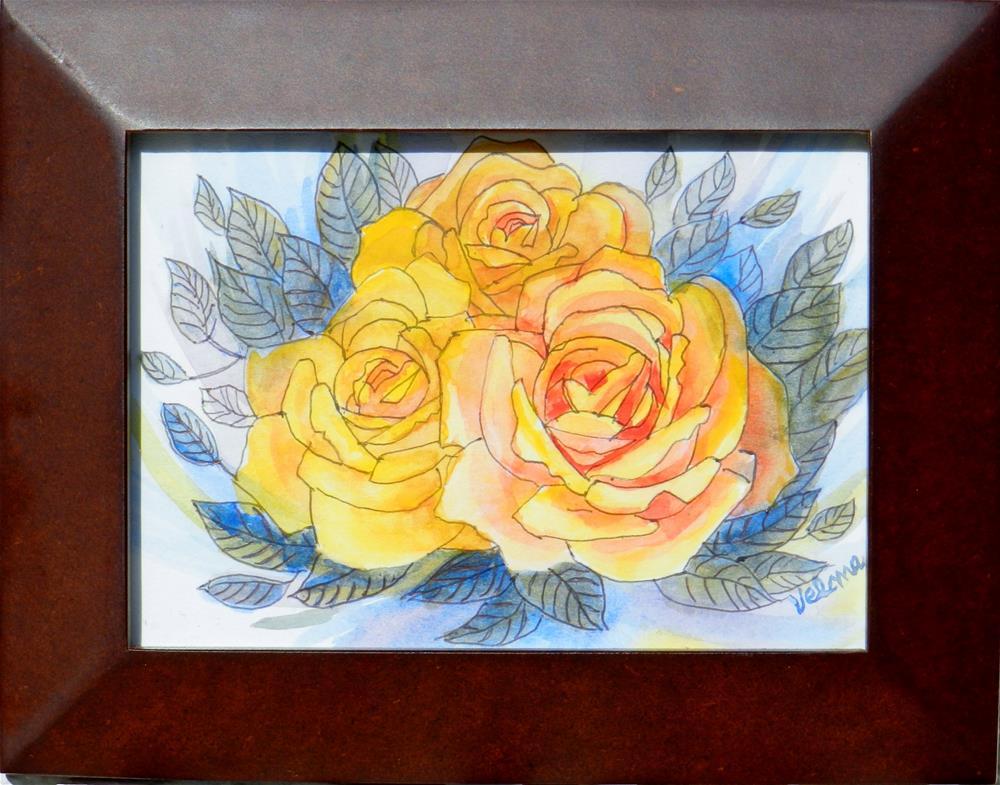 """""""Three Yellow Roses 2"""" original fine art by Velma Davies"""