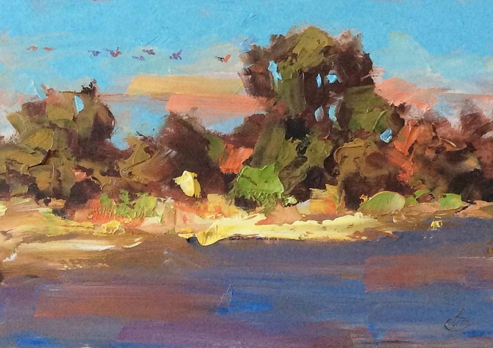 """A FLIGHT OF BIRDS"" original fine art by Tom Brown"