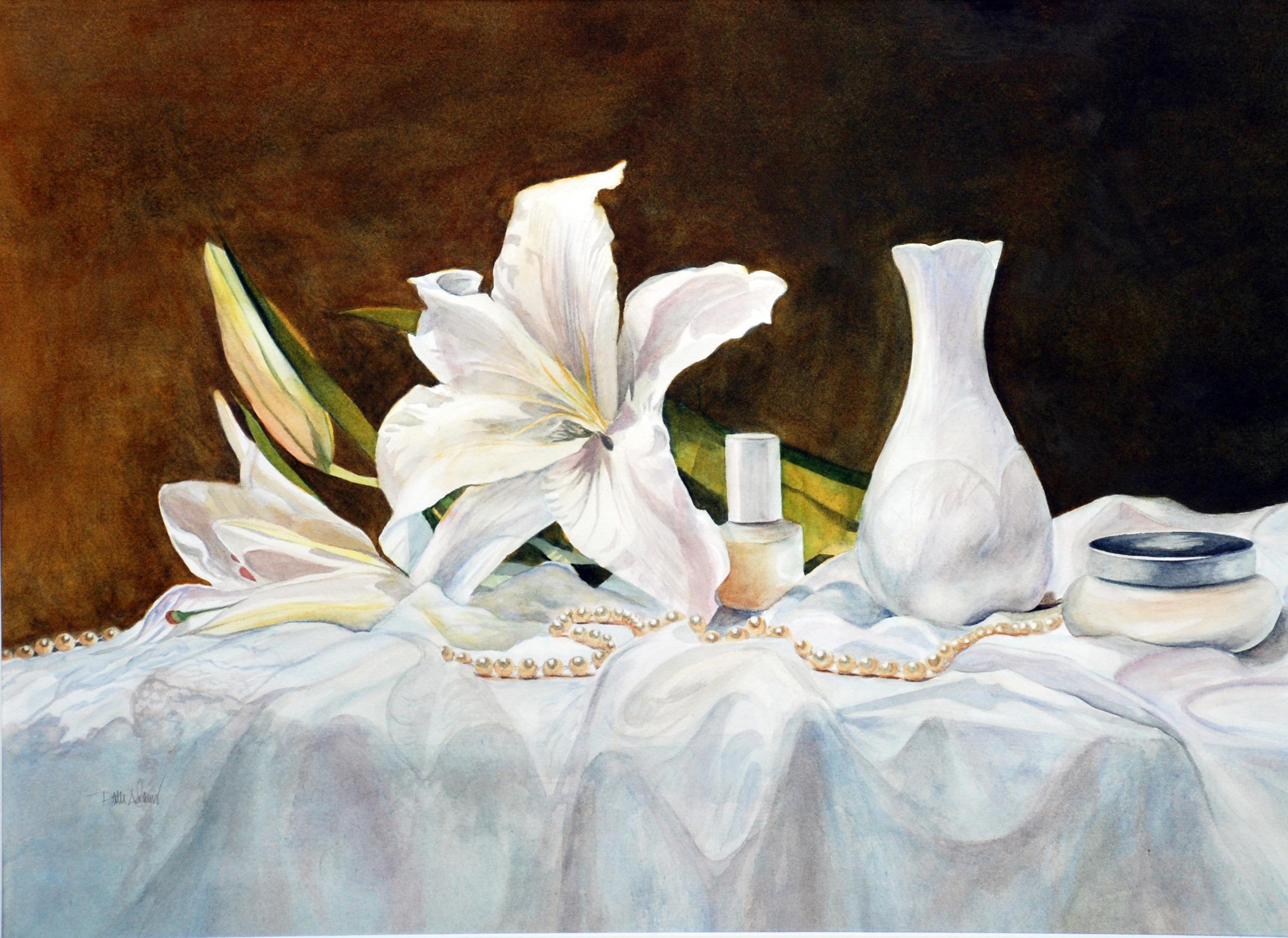 """Lily and Pearls"" original fine art by Patti Adams"