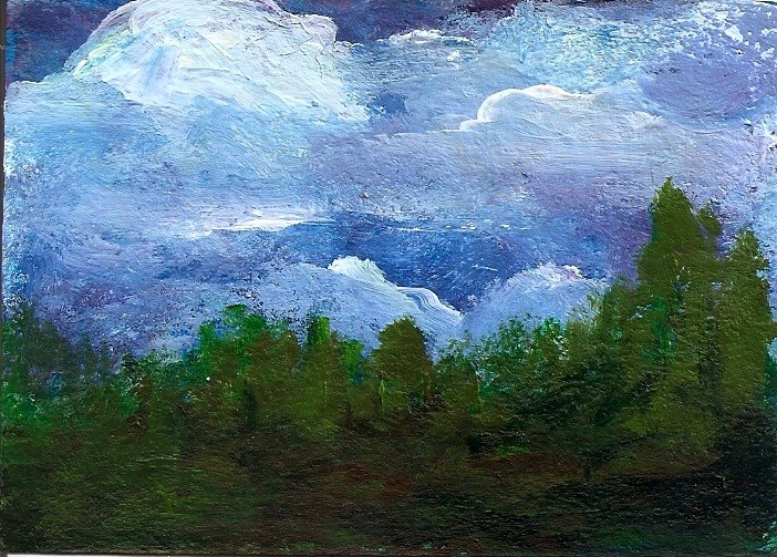 """""""ACEO Storm Clouds Forest Rain Coming Acrylic Landscape Penny StewArt"""" original fine art by Penny Lee StewArt"""