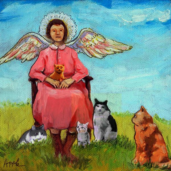 """Guardian Angel - fantasy cat painting"" original fine art by Linda Apple"
