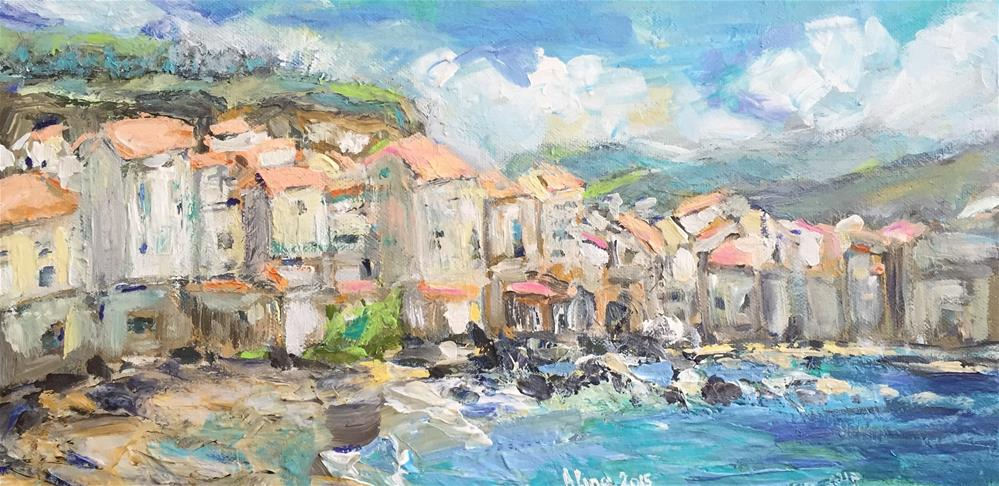 """Beach Village"" original fine art by Alina Vidulescu"