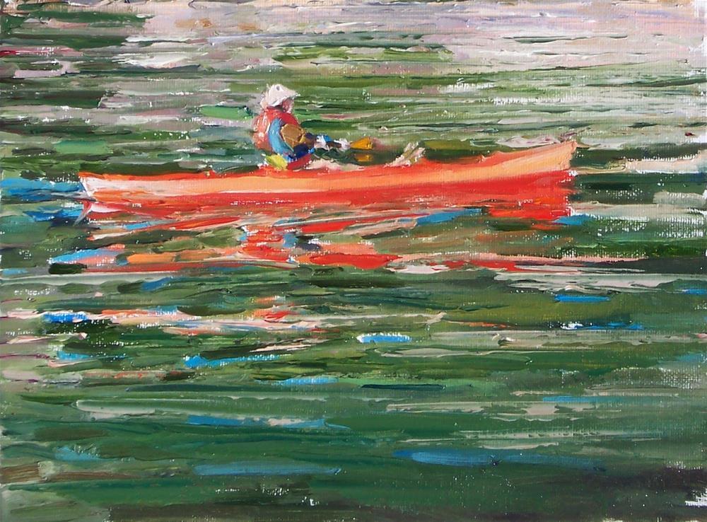 """Kayak Near Home,seascape,oil on canvas,9x12,price$600"" original fine art by Joy Olney"