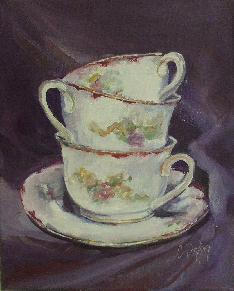 """Grandma's Tea Cups"" original fine art by Cheryl Williams Dolan"