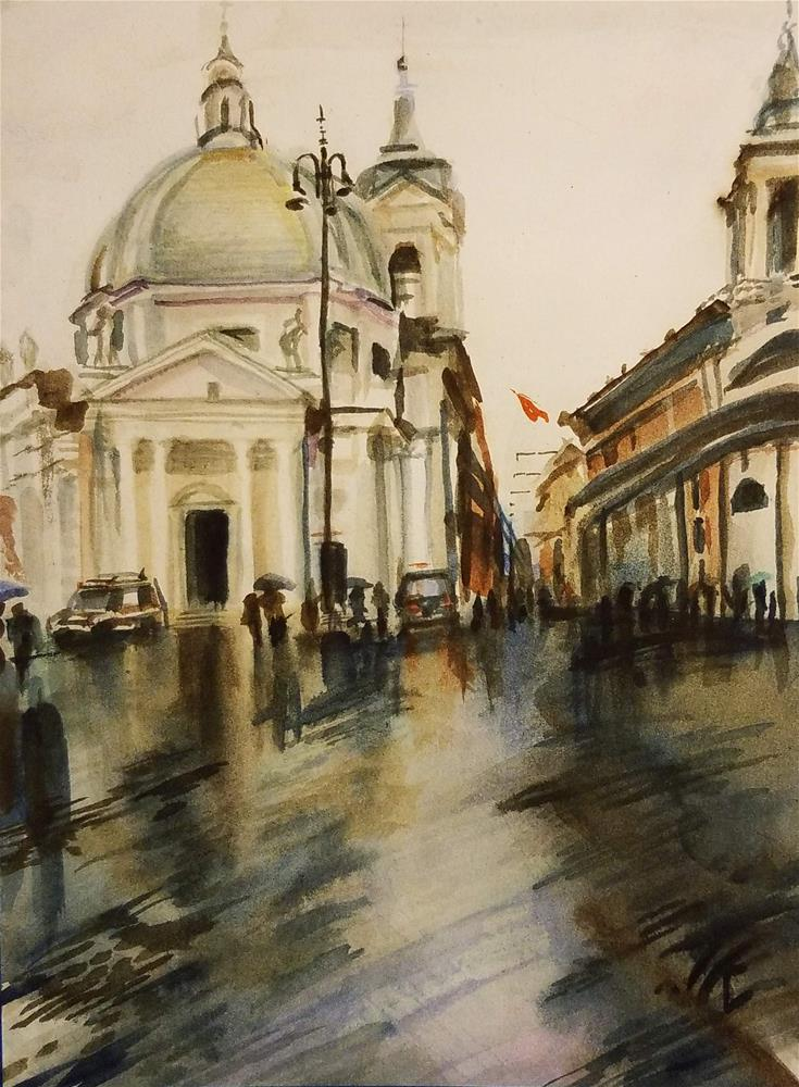 """Sometimes It Rained in Rome - Piazza del Popolo"" original fine art by Jean Krueger"