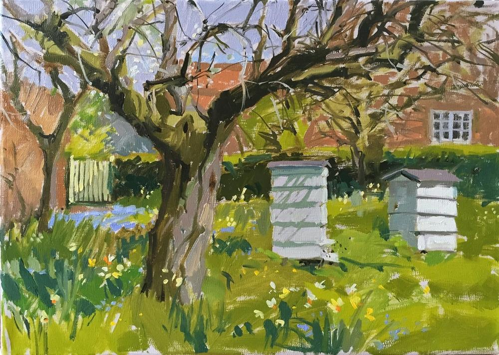 """""""Bees in the orchard"""" original fine art by Haidee-Jo Summers ROI"""