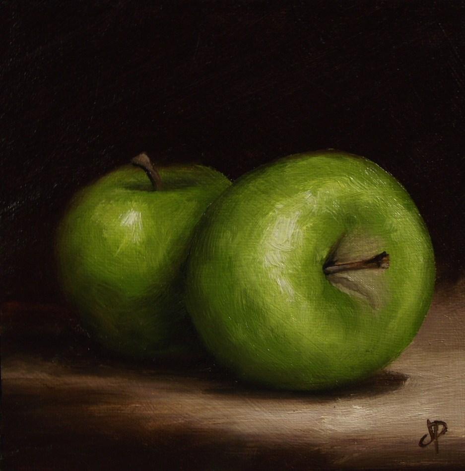 """Two Green Apples"" original fine art by Jane Palmer"