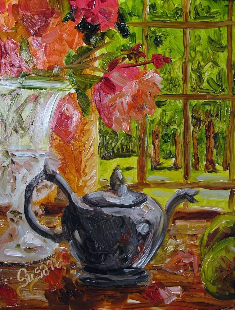 """""""Tea Time"""" original fine art by Susan Elizabeth Jones"""