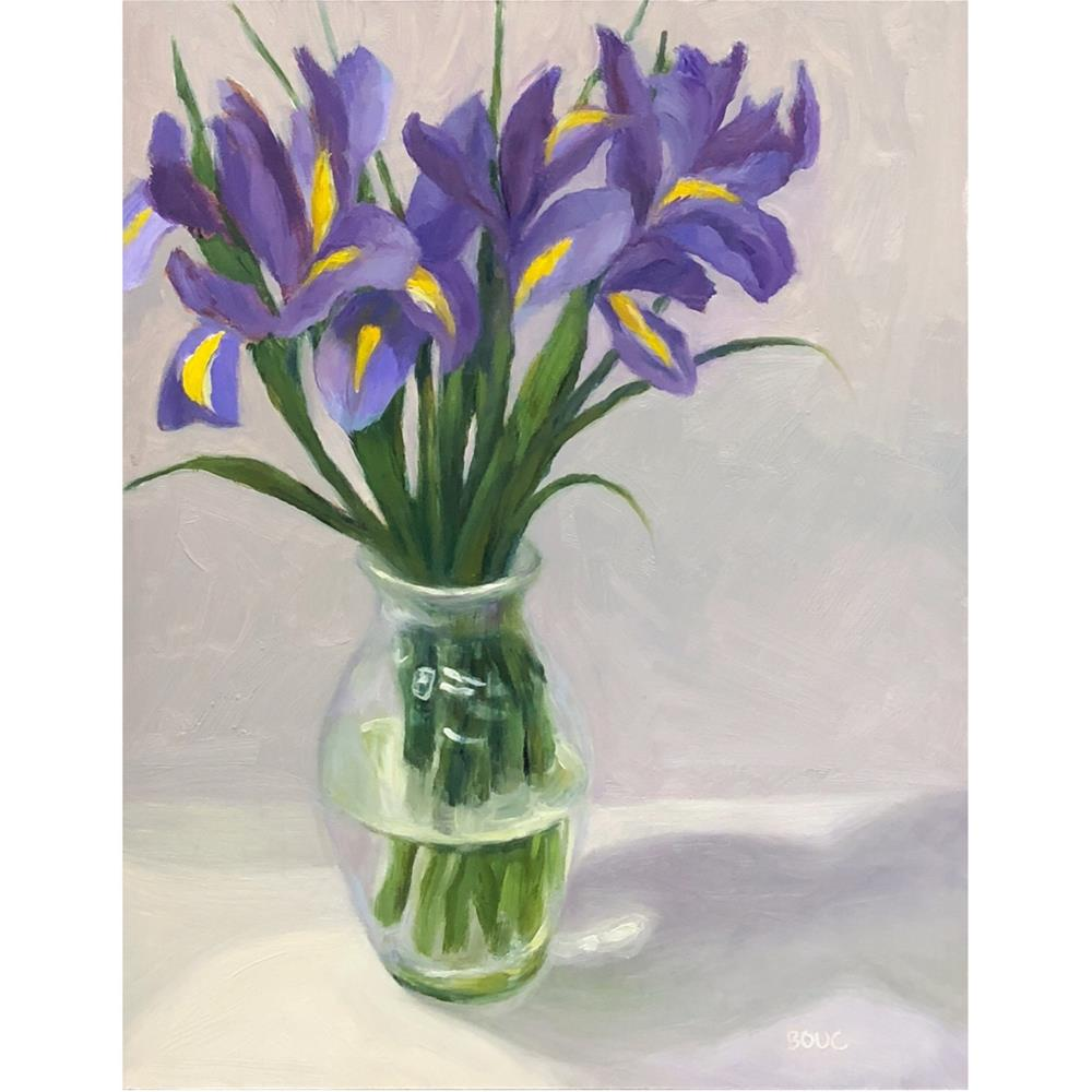 """Irises on White Cloth"" original fine art by Jana Bouc"