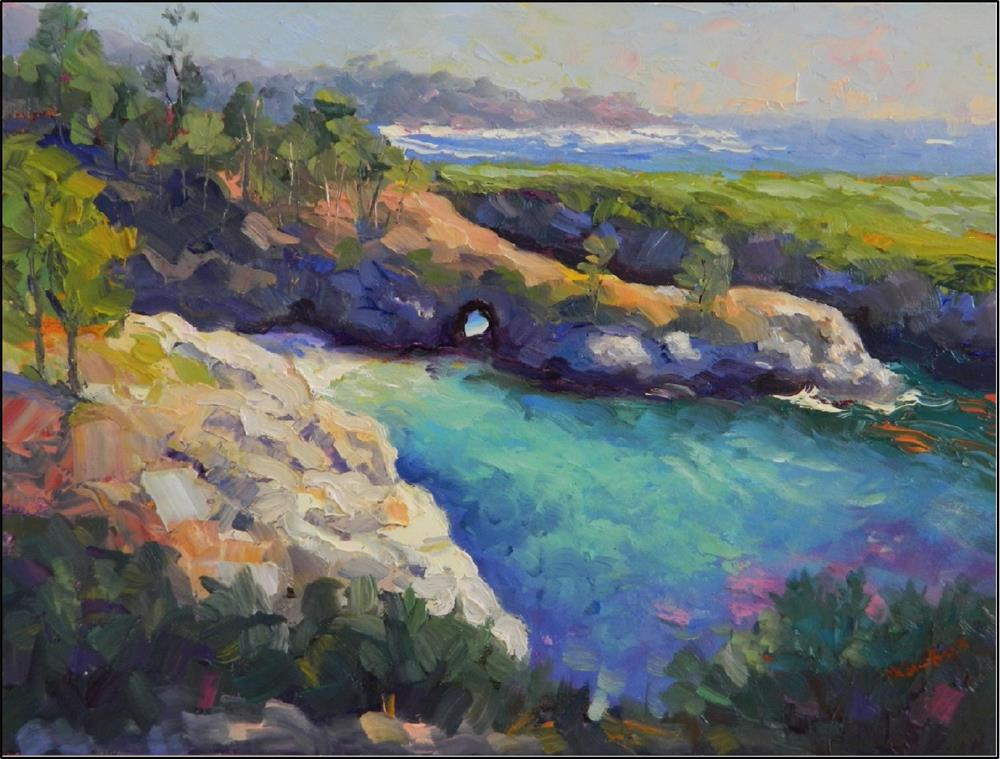 """""""China Cove Springtime, 12x16, oil on panel, paintings of California caost, Big Sur, Point Lobos, C"""" original fine art by Maryanne Jacobsen"""