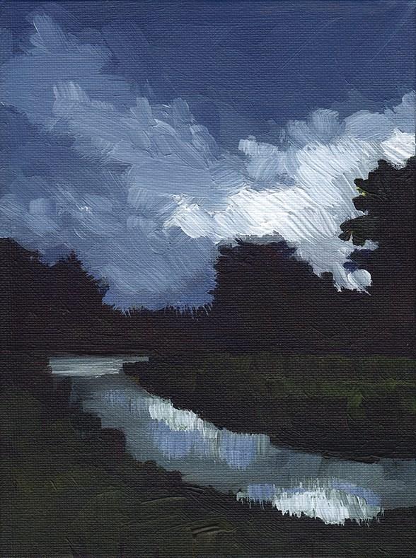 """Canal, Nocturne"" original fine art by J M Needham"
