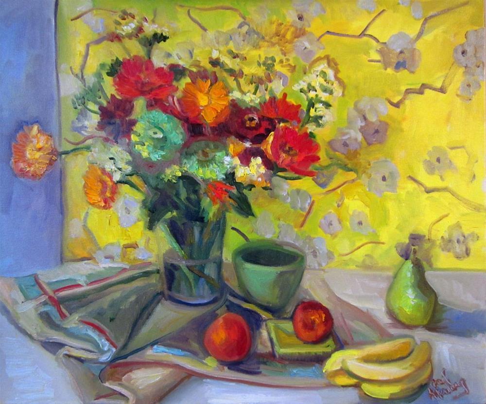 """""""Zinnia with Blossom Wallpaper"""" original fine art by Carol Steinberg"""